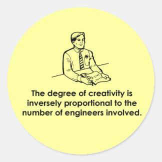 Ingenieros y creatividad pegatina redonda