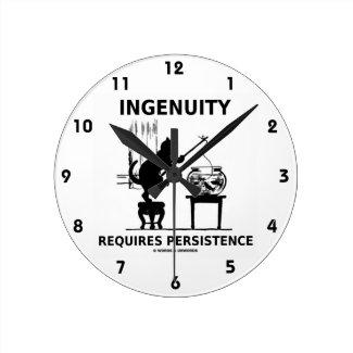 Ingenuity Requires Persistence (Cat Attitude) Round Clock