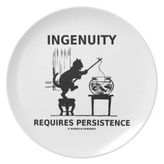 Ingenuity Requires Persistence (Cat Attitude) Party Plates