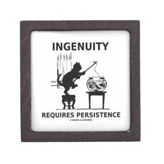 Ingenuity Requires Persistence (Cat Attitude) Premium Trinket Box
