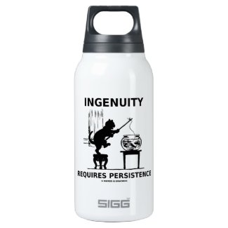 Ingenuity Requires Persistence (Cat Attitude) 10 Oz Insulated SIGG Thermos Water Bottle