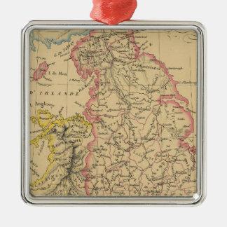 Inglaterra 4 adorno navideño cuadrado de metal