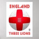 Inglaterra - fútbol de tres leones poster