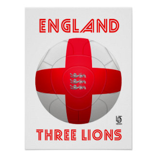 Inglaterra - fútbol de tres leones póster