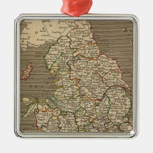 Inglaterra, País de Gales 2 Adorno Navideño Cuadrado De Metal