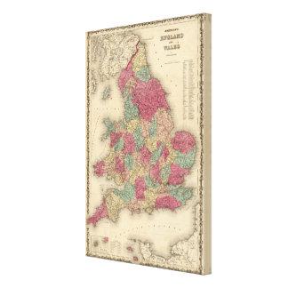 Inglaterra y País de Gales 5 Impresiones En Lona Estiradas