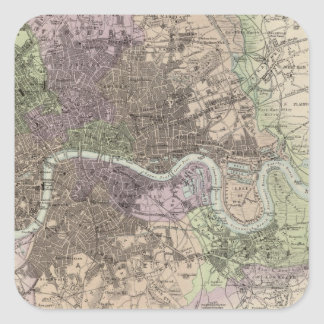 Inglaterra y País de Gales - ciudades, puertos y Pegatina Cuadrada