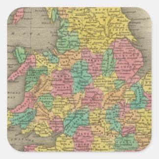 Inglaterra y País de Gales Pegatinas Cuadradases