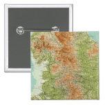 Inglaterra y País de Gales, sección septentrional Pin Cuadrada 5 Cm