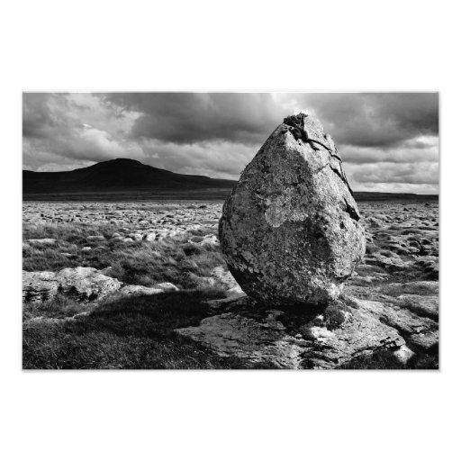 Ingleborough from Twisleton Scars - Mono Photo Print