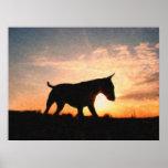 Inglés bull terrier y puesta del sol, estilo de la poster