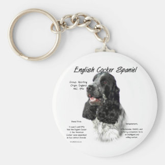Inglés cocker spaniel (parti/b&w) diseño de la his llavero redondo tipo pin