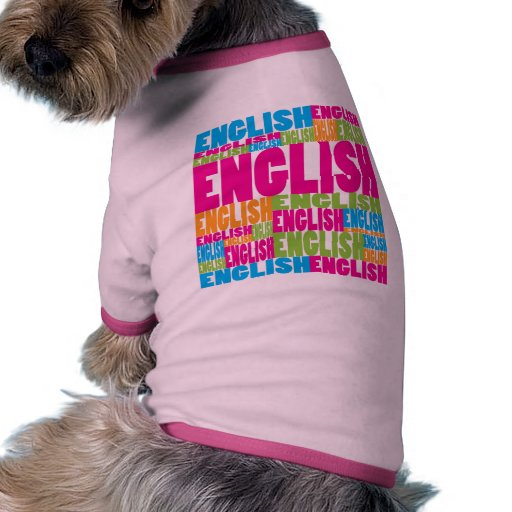 Inglés colorido camiseta de perro