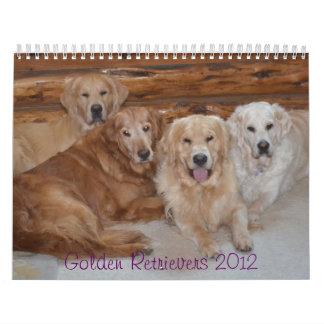 Inglés del calendario w del golden retriever y. Pe