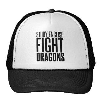 Inglés del estudio, dragones de la lucha gorros
