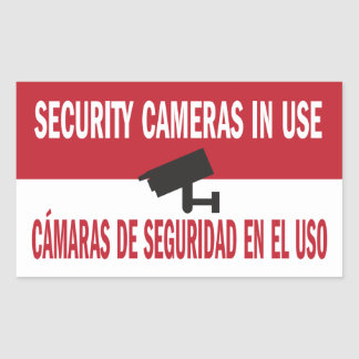 Inglés español bilingüe funcionando de las cámaras pegatina rectangular