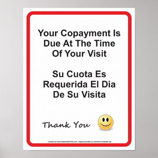 Inglés-español del doctor Office Copayment Wall Póster