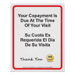 Inglés-español del doctor Office Copayment Wall Si Posters