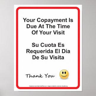 Inglés-español del doctor Office Copayment Wall Si Póster