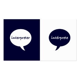 Inglés-español del intérprete tarjetas de visita
