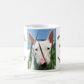 Inglés lindo bull terrier taza de café