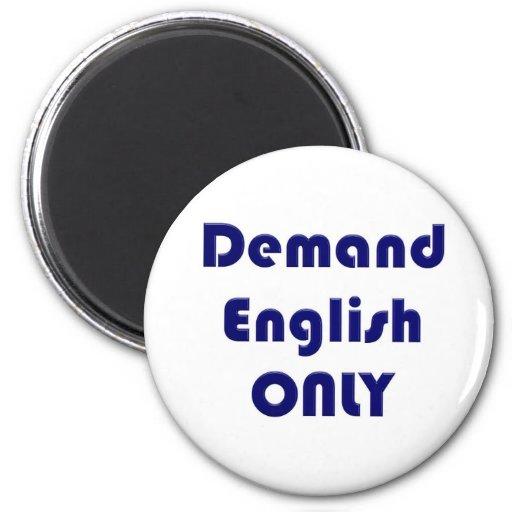 Inglés solamente imán redondo 5 cm