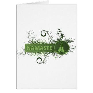 Inglés verde de Namaste Tarjeta De Felicitación