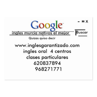 inglesgarantizado Murcia de la academia Tarjetas De Visita Grandes