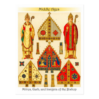 Ingletes, atuendo, e insignias del obispo postal