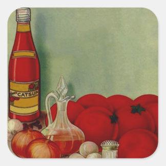 Ingre de los tomates de la salsa de barbacoa del pegatina cuadrada