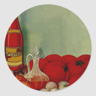 Ingre de los tomates de la salsa de barbacoa del pegatina redonda