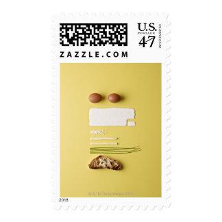 Ingredientes de los huevos revueltos sellos postales