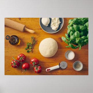 Ingredientes para hacer la pizza póster