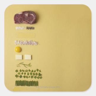 Ingredientes para tartare de filete en amarillo pegatina cuadrada