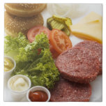 Ingredients for cheeseburgers ceramic tiles