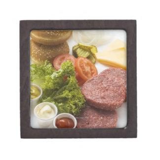 Ingredients for cheeseburgers keepsake box
