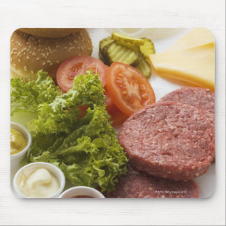 Ingredients for cheeseburgers mouse pad