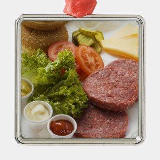 Ingredients for cheeseburgers christmas ornament