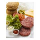 Ingredients for cheeseburgers postcard