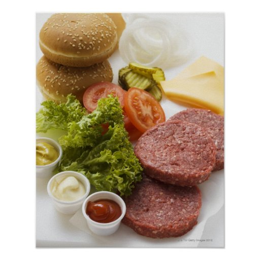 Ingredients for cheeseburgers print