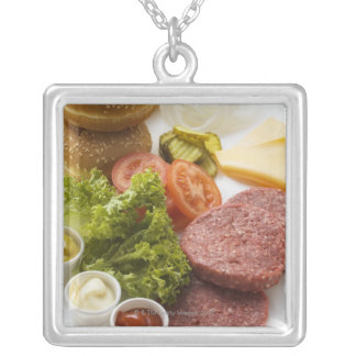 Ingredients for cheeseburgers square pendant necklace