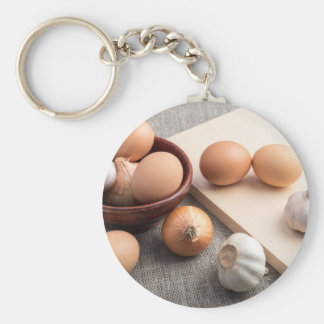 Ingredients for cooking in retro style keychain