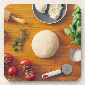 Ingredients for making pizza drink coaster