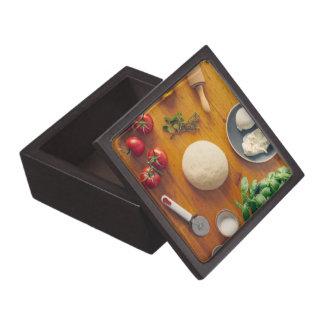 Ingredients for making pizza keepsake box