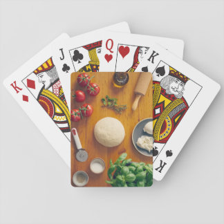 Ingredients for making pizza playing cards