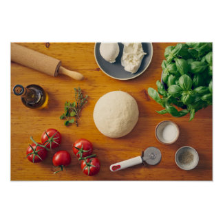 Ingredients for making pizza poster