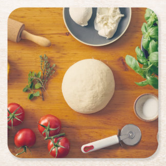 Ingredients for making pizza square paper coaster