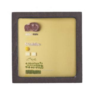 Ingredients for steak tartare on yellow jewelry box