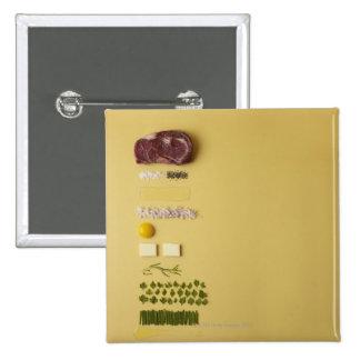 Ingredients for steak tartare on yellow pinback button