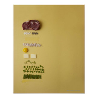 Ingredients for steak tartare on yellow poster
